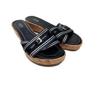 Talbots black platform flatform cork wedge sandals